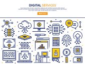 Line vector illustration of digital and electronic services. Banner/Header Icons.