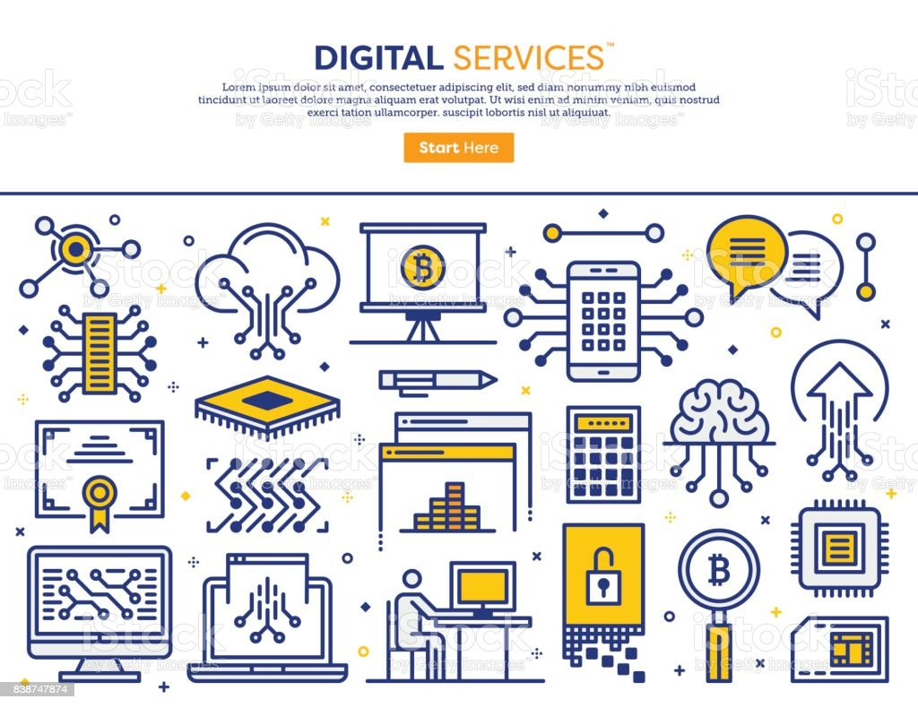 Digital Services Concept vector art illustration