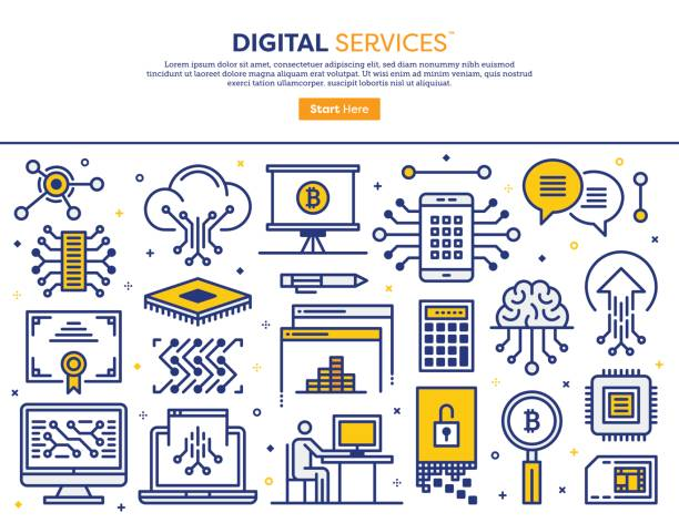 デジタル サービスの概念 ベクターアートイラスト