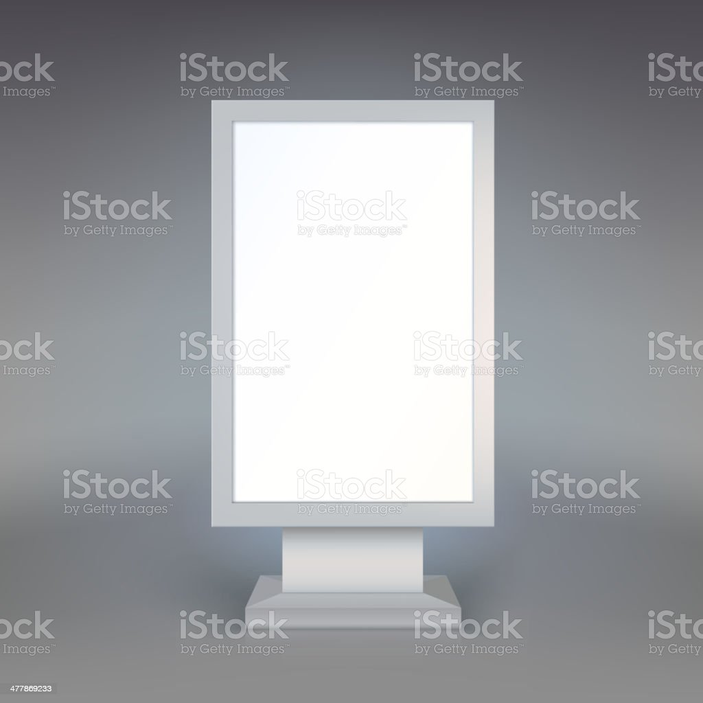 Digital Signage. Blank advertising billboard on gray background vector art illustration