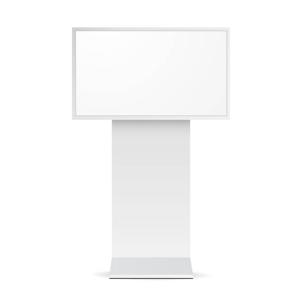 Digital signage monitor white mockup Digital signage monitor white mockup - front view. Vector illustration liquid crystal display stock illustrations