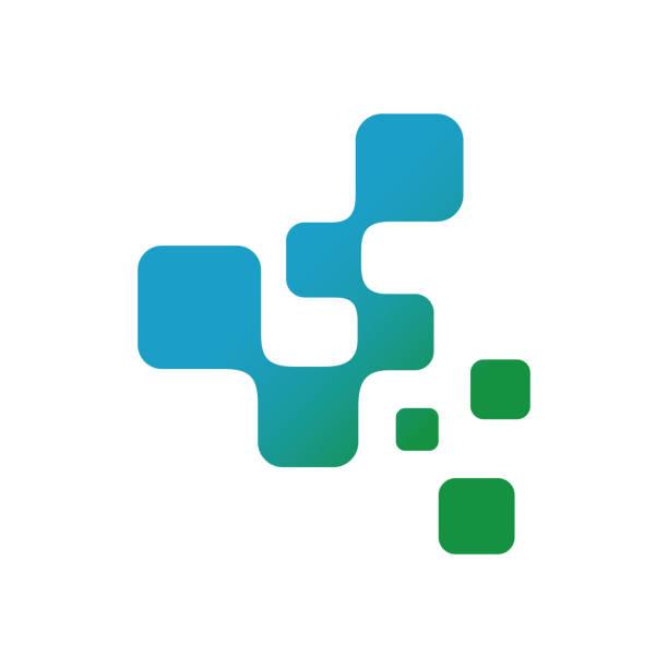 디지털 사이니지 픽셀 아이콘 기술 요소 벡터 로고 아이콘 일러스트 레이터 - 정사각형 구성 stock illustrations