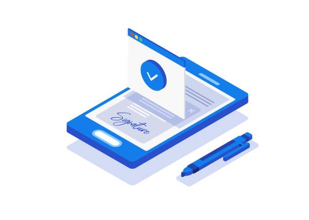 Digital signature. Creative people collection. Digital signature. Flat 3d web isometric contract signature infographic concept vector signature stock illustrations