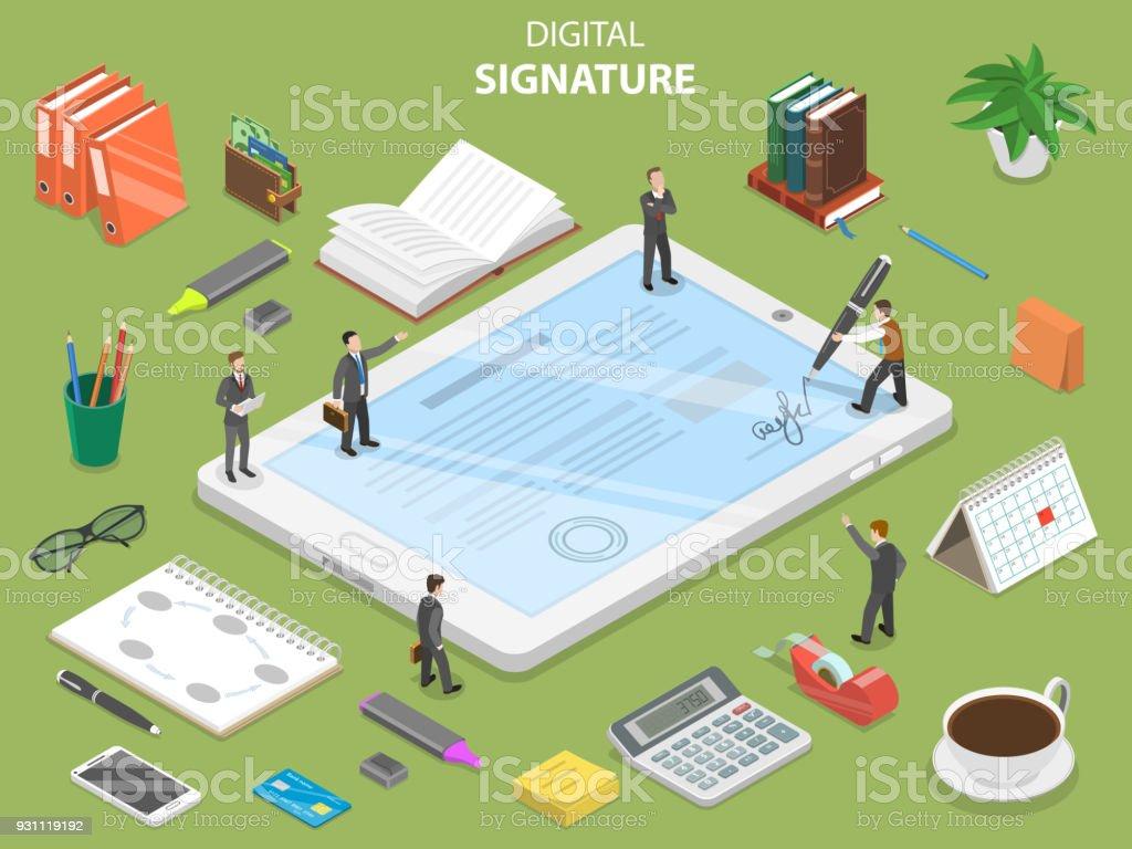 Digital signature flat isometric vector concept. vector art illustration