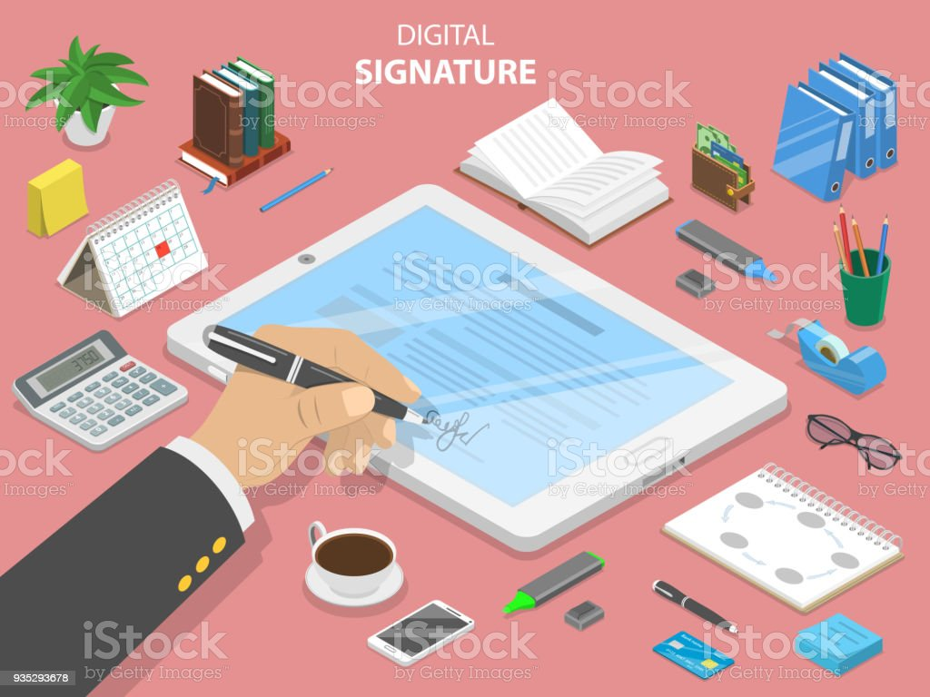 Digital signature flat isometric vector concept. vector art illustration