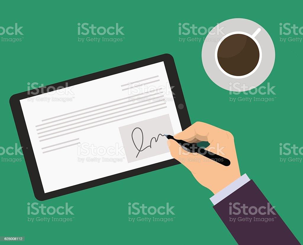 Digital signature green vector art illustration