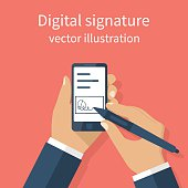 Digital signature on smartphone.