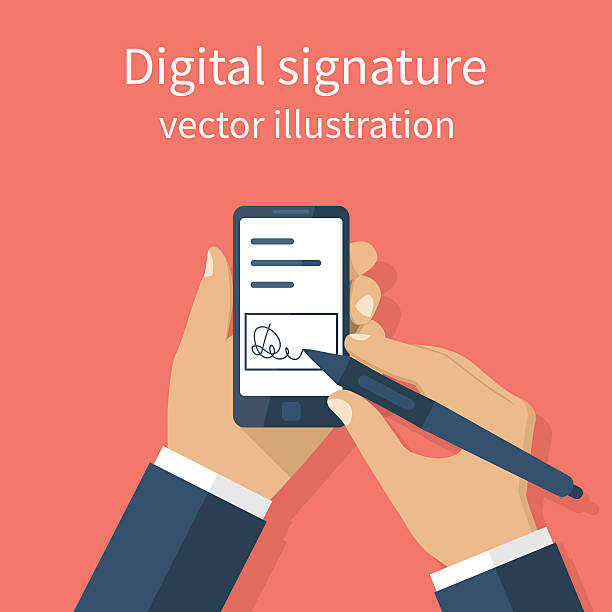 Digital signature on smartphone. vector art illustration