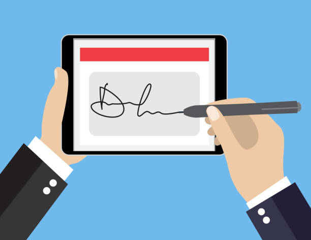 Digital signature on tablet vector art illustration