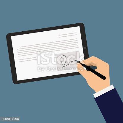 Digital signature on tablet. Businessman hand put digital signature on a tablet. Hand in a suit  put an electronic signature on a tablet