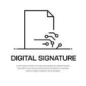 Digital Signature Vector Line Icon - Simple Thin Line Icon, Premium Quality Design Element