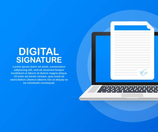 Digital signature. Web isometric contract signature infographic concept. Vector illustration. Digital signature. Web isometric contract signature infographic concept. Vector stock illustration. signature stock illustrations