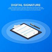 Digital signature. Web isometric contract signature infographic concept. Vector stock illustration.