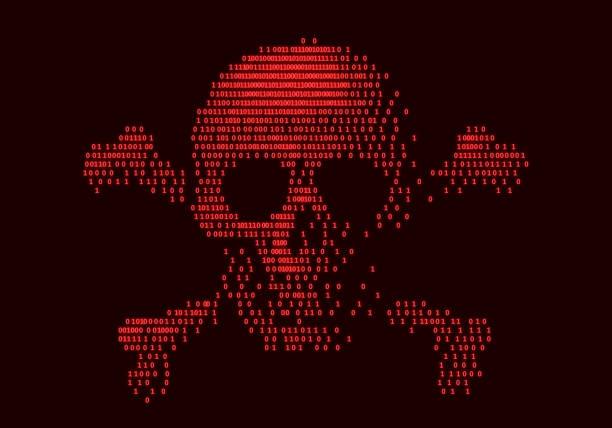 Digital skull and crossbones on binary code Digital skull and crossbones on binary code. Eps8. RGB. Global color hacker stock illustrations