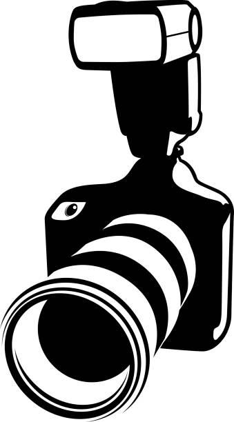 Digital SLR Camera vector art illustration