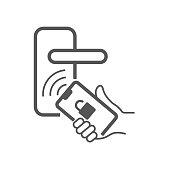 istock Digital smart door lock that opens with smartphone. In hand smartphone to open the door. Line vector icon. EPS 10. 1223334913