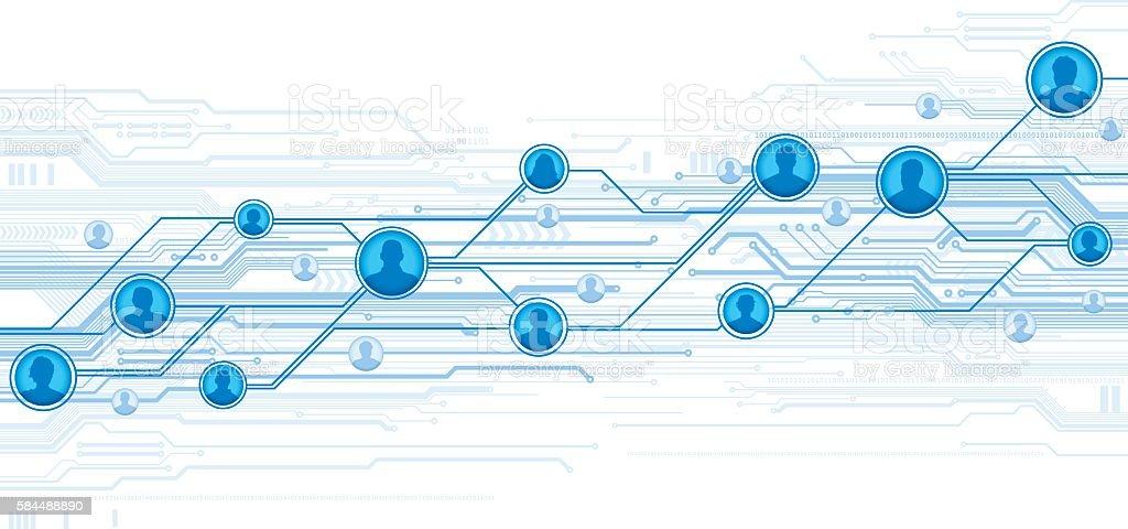 Digital social network vector art illustration