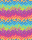 Digital Sound Bounce Rainbow Ombre Pixel Vector Pattern