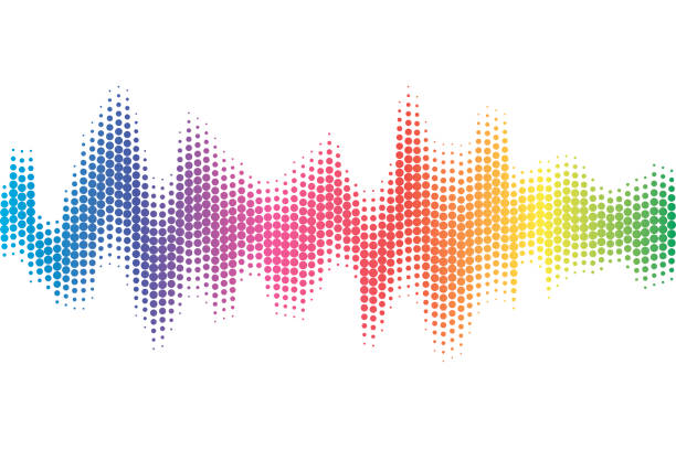 Digital sound equalizer with colored rainbow dots on white background. Vector illustration. vector art illustration