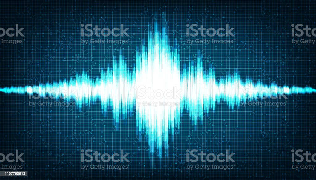 Digital Sound Wave Low and Hight richter scale on Light Blue...