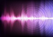 Digital Sound waves on Light Purple background,technology and earthquake wave concept,design for music industry,Vector,Illustration.
