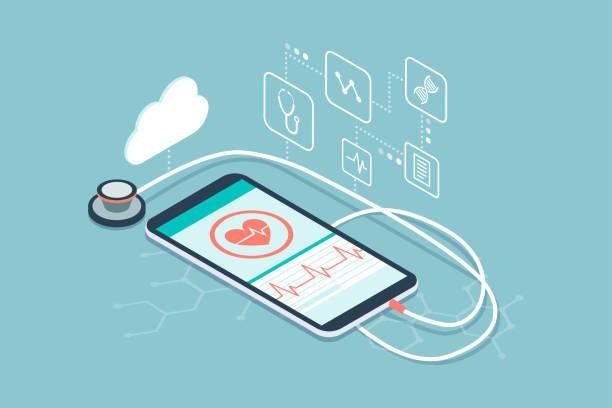 bildbanksillustrationer, clip art samt tecknat material och ikoner med digitala stetoskop och innovativ medicinsk diagnostik - kardiolog