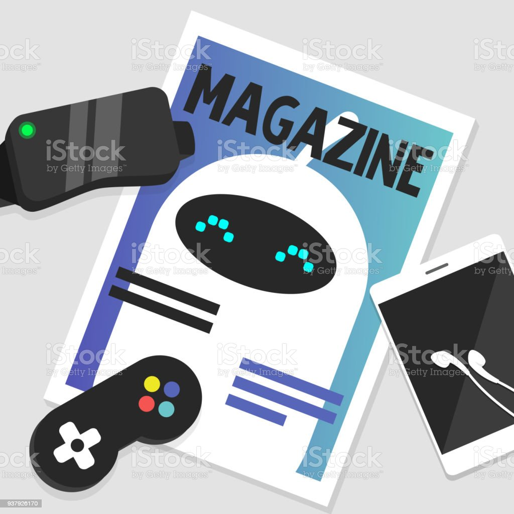 デジタルの静物画電子小道具は雑誌表紙にかわいい白いロボットフラット