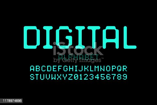 Digital style font, alphabet letters and numbers, vector illustration