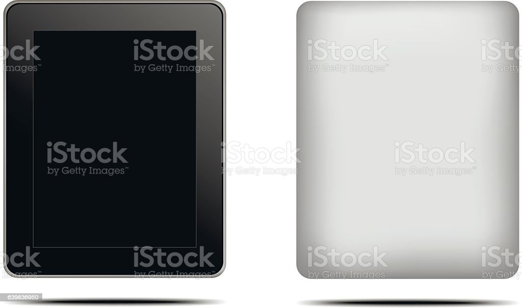 Digital tablet back and front vector vector art illustration