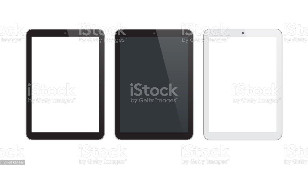 Digital Tablet Black and Silver Color vector art illustration