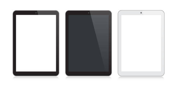 Digital Tablet Black and Silver Color with Reflection Vector Digital Tablet Black and Silver Color with Reflection ipad stock illustrations