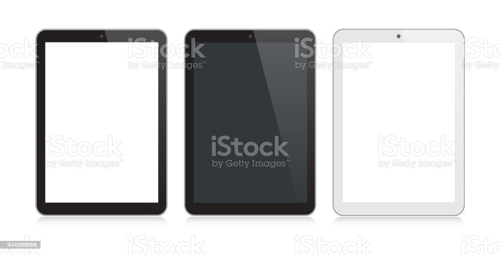 Digital Tablet Black and Silver Color with Reflection vector art illustration