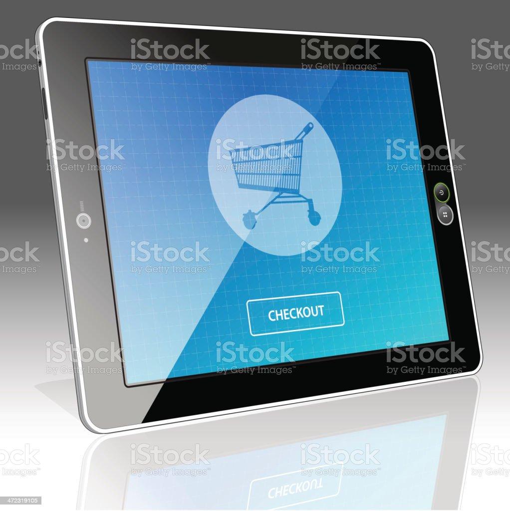 Digital Tablet Online Shopping - Left side horizontal view royalty-free stock vector art
