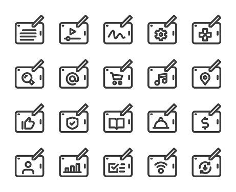 Digital Tablet Set 1 Bold Line Icons Vector EPS File.