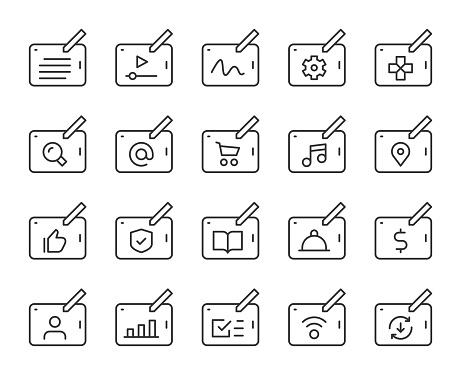 Digital Tablet Set 1 Light Line Icons Vector EPS File.