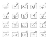 istock Digital Tablet Set 1 - Thin Line Icons 1305748992