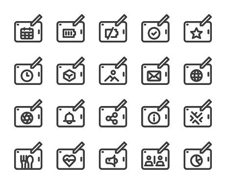 Digital Tablet Set 2 Bold Line Icons Vector EPS File.