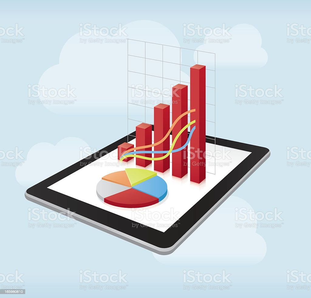 Digital tablet with charts royalty-free stock vector art