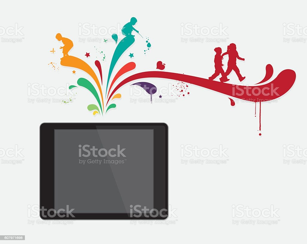 Digital Tablet with children vector art illustration