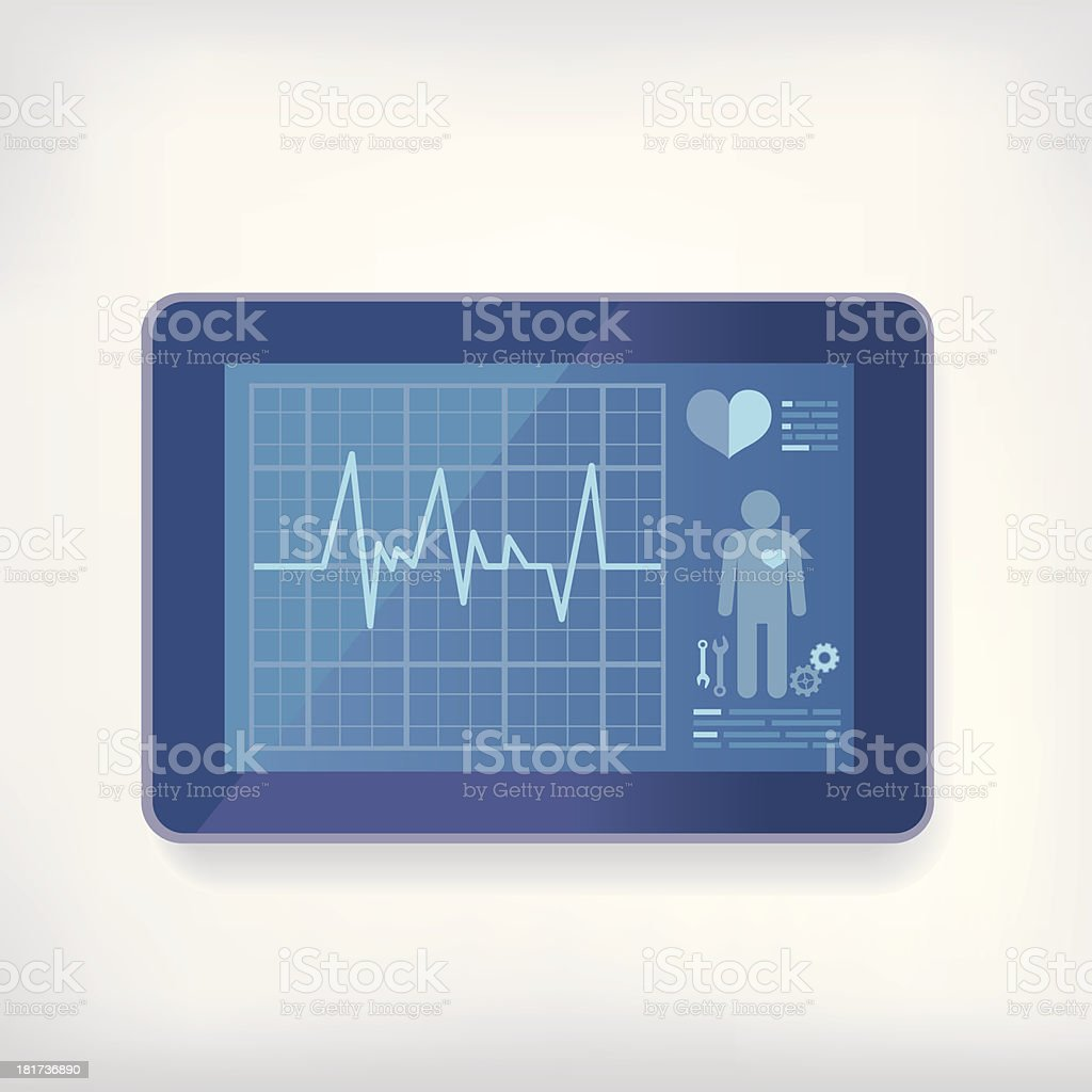 Digital tablet with heart monitor graphics displayed vector art illustration