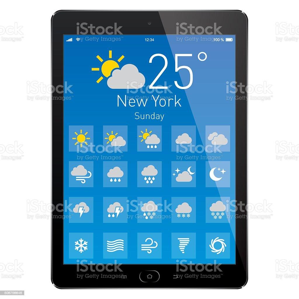 Digital Tablet with Weather App. Vector vector art illustration