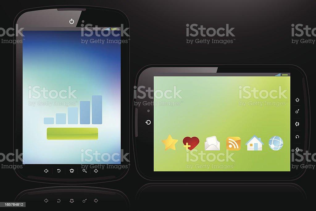 Digital tablets on black royalty-free stock vector art