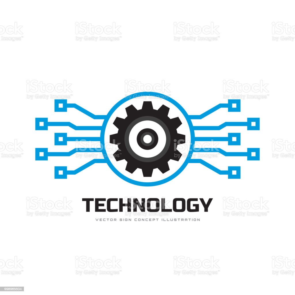 Digital tech vector business sign template concept illustration gear digital tech vector business sign template concept illustration gear electronic factory sign cog wajeb Gallery