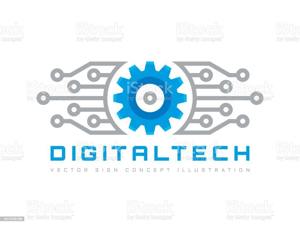 Digital Tech Vector Business Template Concept Illustration Gear ...