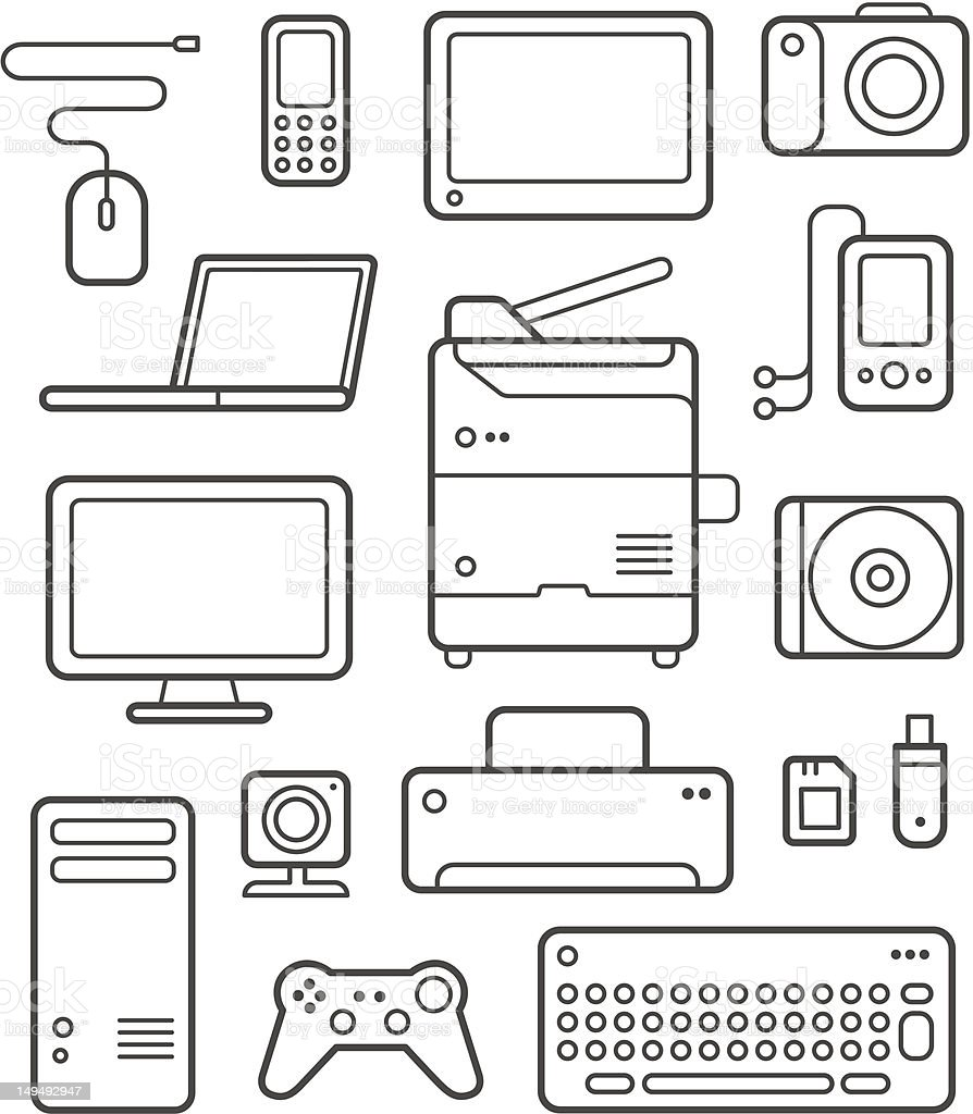 Digital Technics Icons Set royalty-free stock vector art