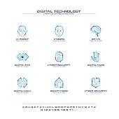 Digital technology creative symbols set, font concept. AI circuit brain abstract business pictogram. Cyborg face, head, smart robot hand icon. Corporate identity alphabet, sign, company graphic design