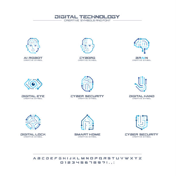 digital technology creative symbols set, font concept. ai circuit brain abstract business pictogram. cyborg face, head, smart robot hand icon - sztuczna inteligencja stock illustrations