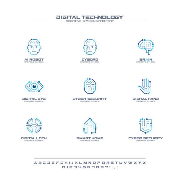 デジタル技術の創造的な記号セット、フォントの概念です。ai 回路脳抽象的なビジネス ピクトグラム。サイボーグ顔、ヘッド、スマート ロボット手のアイコン - ai点のイラスト素材/クリップアート素材/マンガ素材/アイコン素材