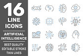 Digital Technology icons set. AI, Iot, Smart brain signs. AI, Smart brain, Hi-tech creative signs and logo elements. Editable Storke. EPS 10