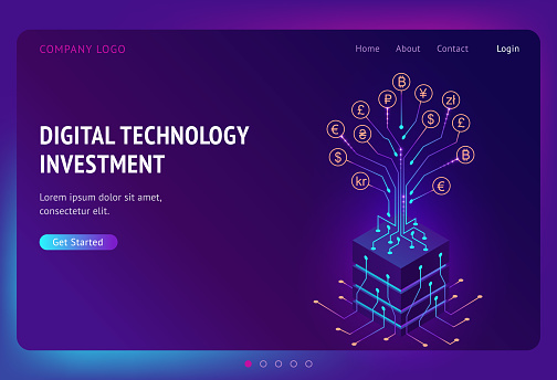 Digital technology investment isometric landing